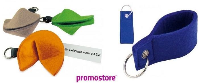 Filzschlüsselanhänger bei Promostore als Werbeartikel bedrucken