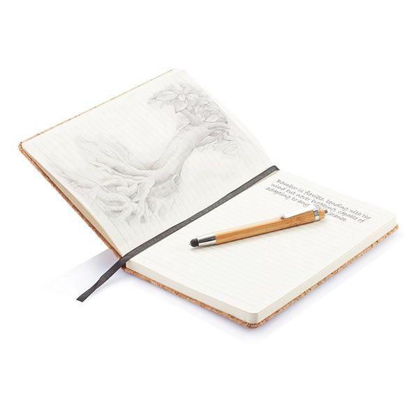 Kork A5 Notizbuch mit Bambus Stift und Stylus, Ansicht 11