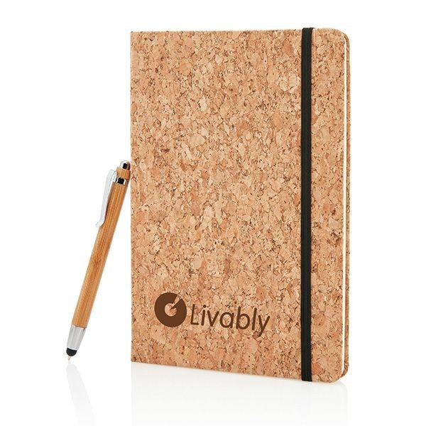 Kork A5 Notizbuch mit Bambus Stift und Stylus