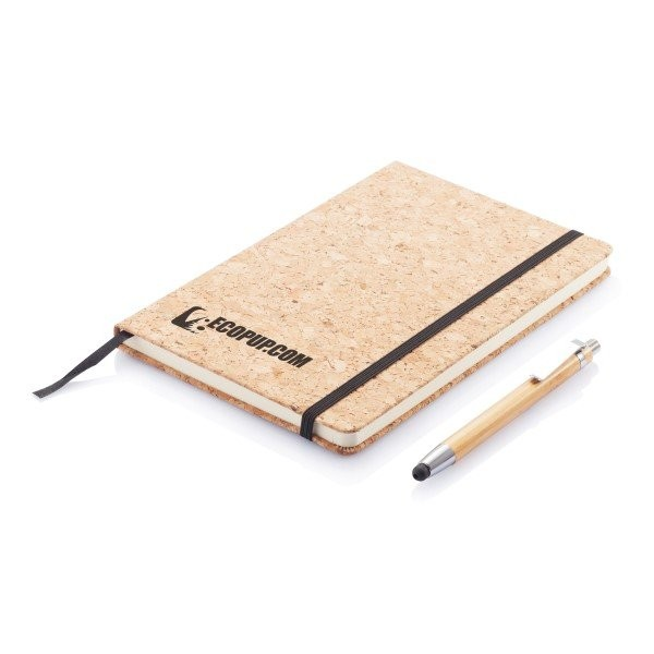 Kork A5 Notizbuch mit Bambus Stift und Stylus, Ansicht 3