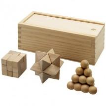 Brainiac Denksportspiel aus Holz, 3-teilig - braun