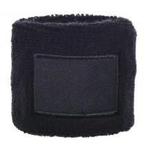 Frottier Armschweißband 6cm mit Label - schwarz