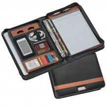 DIN A4 Schreibmappe mit Ringbuch - braun