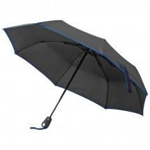 Taschenschirm schwarz mit farbigem Rand, 190T Pongee - blau