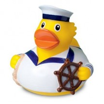 Quietsche-Ente Seemann weiß - gelb