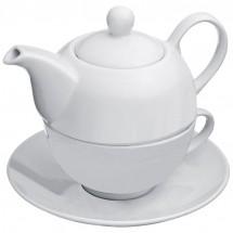 Teekanne mit einer Tasse und Untersetzer - weiss