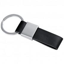 Schlüsselanhänger mit Kunstleder-Bändchen - grau