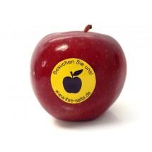 Logo-Werbeapfel mit Aufkleber - rot