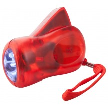 Dynamo Taschenlampe ''H Power'' - rot/transparent