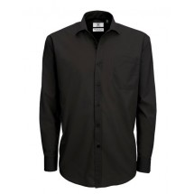 Poplin Shirt Smart Long Sleeve / Men - Black