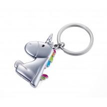 Schlüsselanhänger EINHORN - mehrfarbig, silber