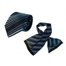 Set (Krawatte, Reine Seide + Schal, Reine Seide Twill, ca. 35x160 cm) - blau