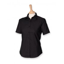 Ladies Classic Short Sleeved Oxford Shirt - Black