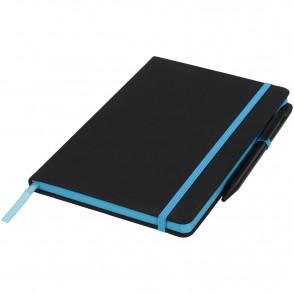 A5 schwarzes Notizbuch mit farbigem Rand