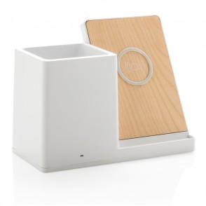 Birch 5W Wireless Charger und Stiftehalter, weiß