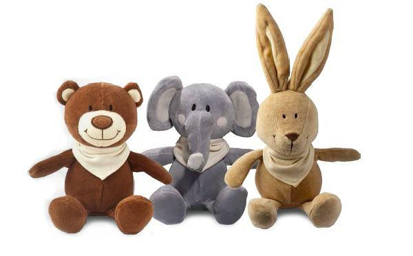 Plüschtier Teddy, Elefant und Hase